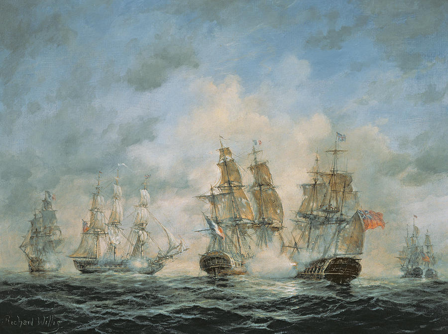 19th Century Naval Engagement In Home Waters Painting