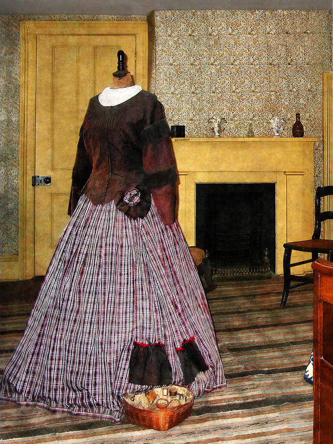19th Century Plaid Dress Photograph