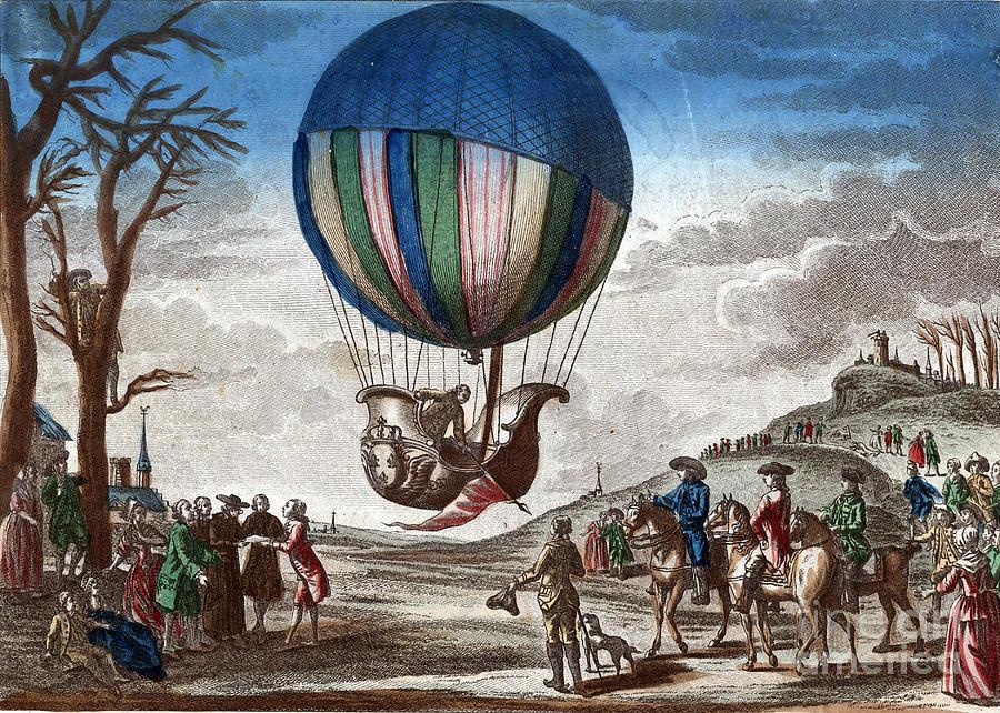 1st Manned Hydrogen Balloon Flight, 1783 Photograph
