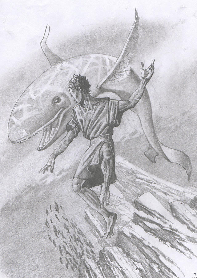 162 Jonah And The Whale Drawing  - 162 Jonah And The Whale Fine Art Print