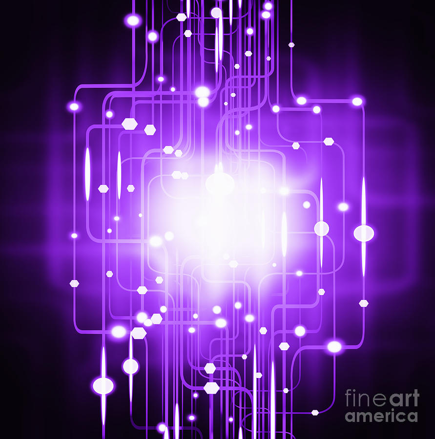 Abstract Circuit Board Lighting Effect  Photograph