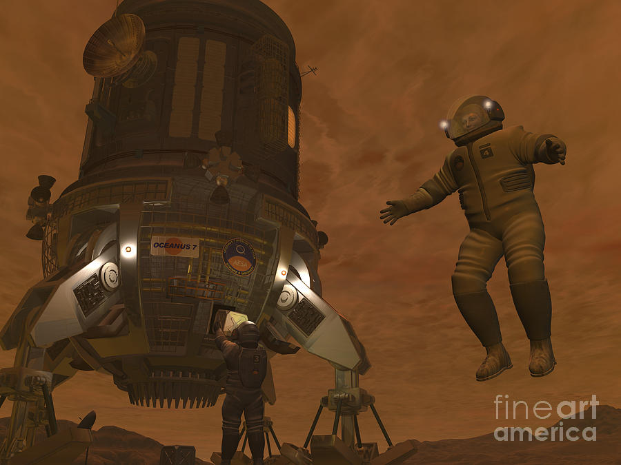 Artists Concept Of Astronauts Exploring Digital Art  - Artists Concept Of Astronauts Exploring Fine Art Print