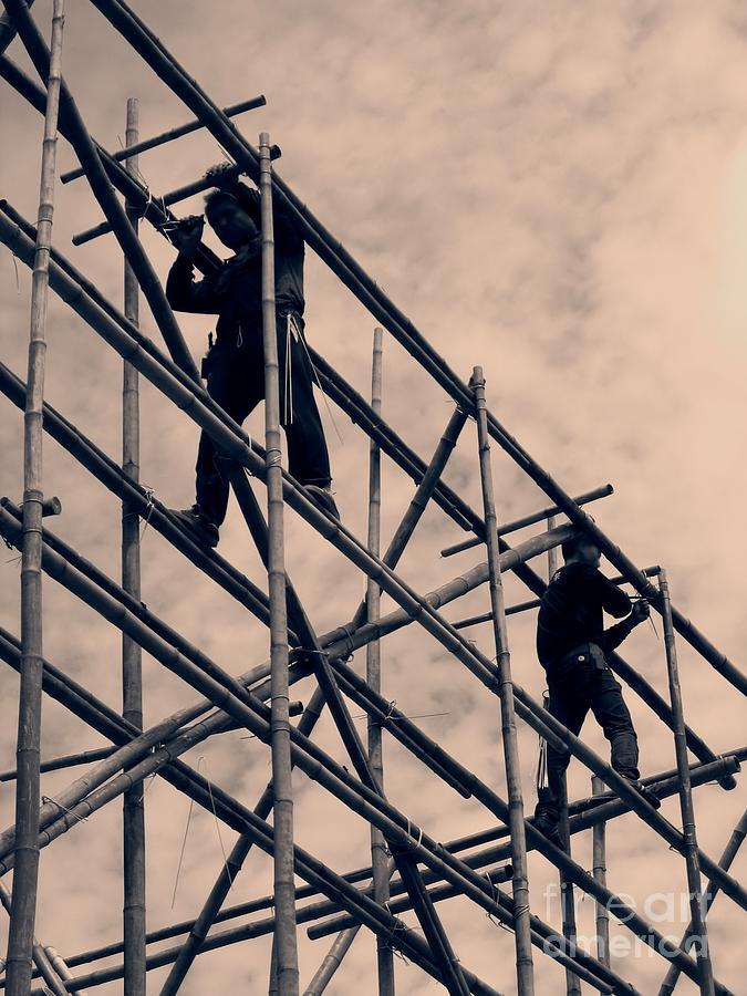 Bamboo Photograph - Bamboo Scaffolding by Yali Shi