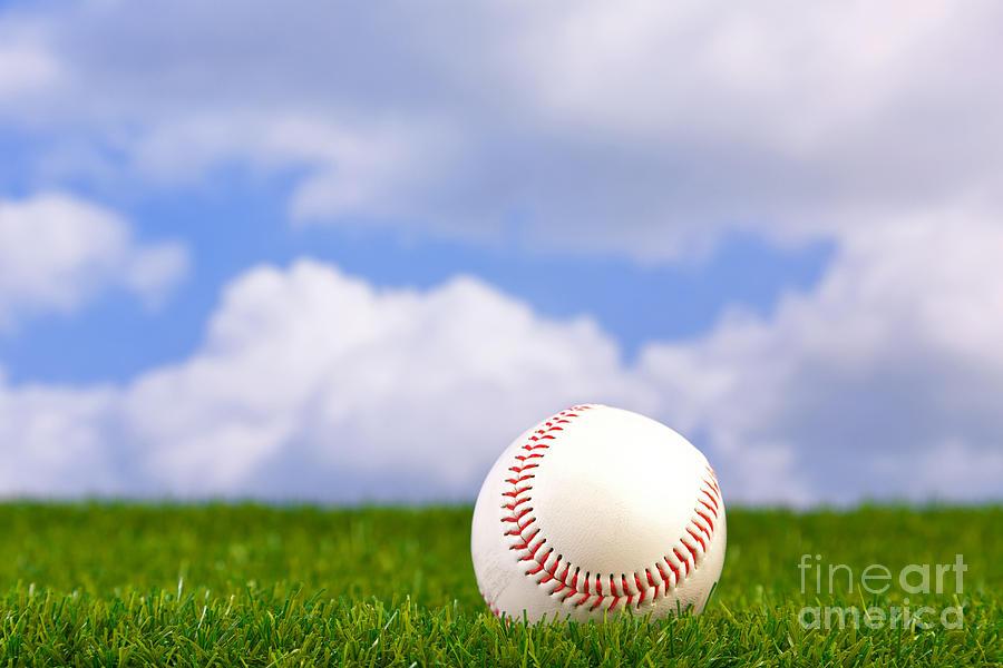 Baseball On Grass Photograph