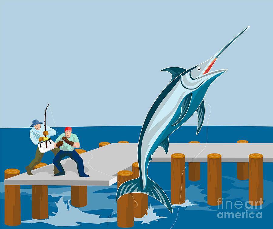 Blue Marlin Fish Jumping Retro Digital Art