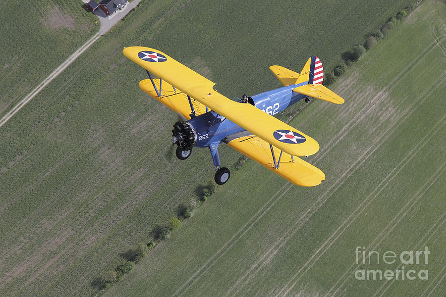 Boeing Stearman Model 75 Kaydet In U.s Photograph  - Boeing Stearman Model 75 Kaydet In U.s Fine Art Print