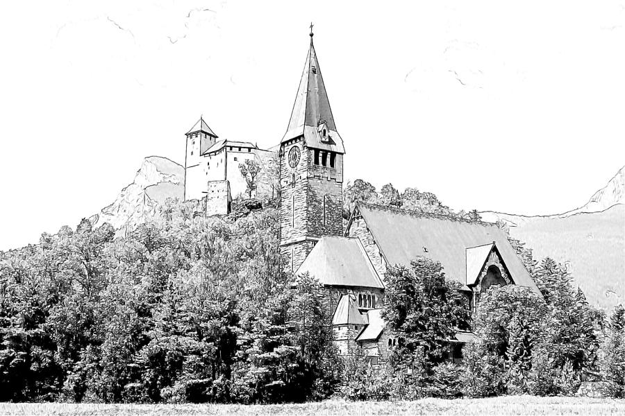 Burg Gutenberg And Church Balzers Liechtenstein  Photograph  - Burg Gutenberg And Church Balzers Liechtenstein  Fine Art Print