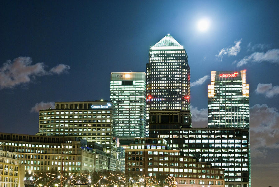 Canary Wharf At Night Photograph