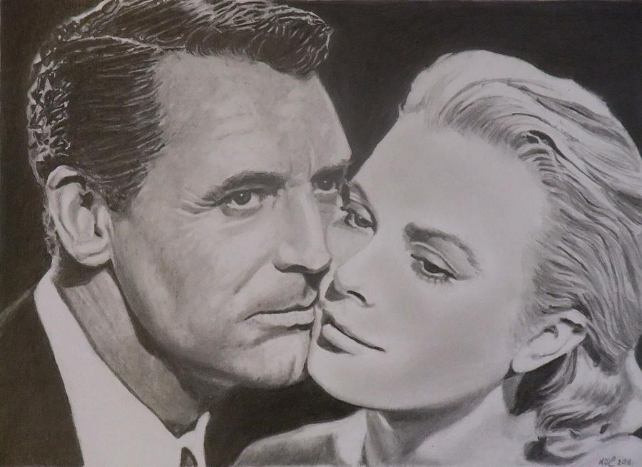 Cary Grant And Grace Kelly Drawing  - Cary Grant And Grace Kelly Fine Art Print