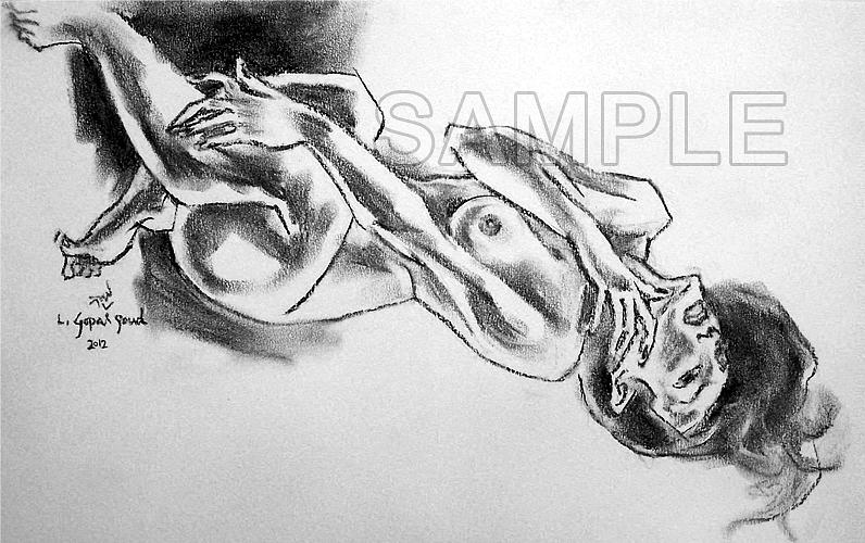 Charcoal Drawing - Charcoal Series by L Gopal goud -Gopi