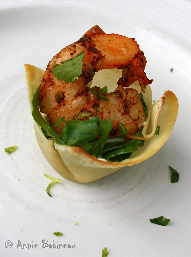 Chili Photograph - Chili Lime Shrimp Cups by Anne Babineau