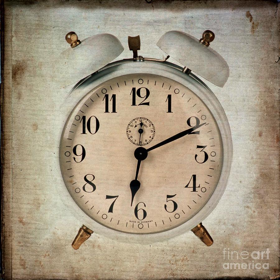 Flypaper Textures Photograph - Clock by Bernard Jaubert