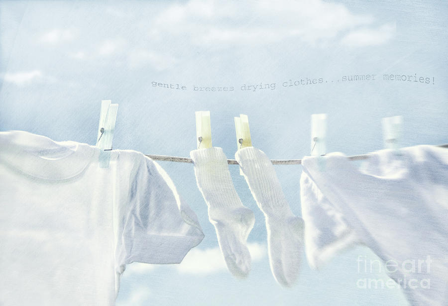 Clothes Hanging On Clothesline Photograph  - Clothes Hanging On Clothesline Fine Art Print