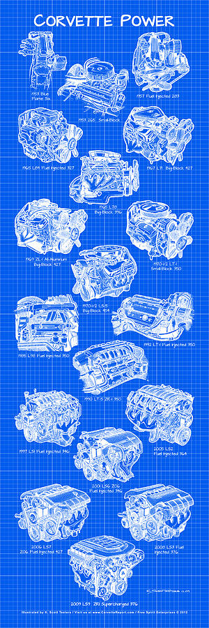 Corvette Power - Corvette Engines Blueprint Drawing  - Corvette Power - Corvette Engines Blueprint Fine Art Print
