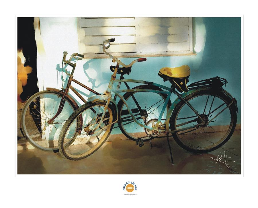 2 Cuban Bicycles Painting  - 2 Cuban Bicycles Fine Art Print