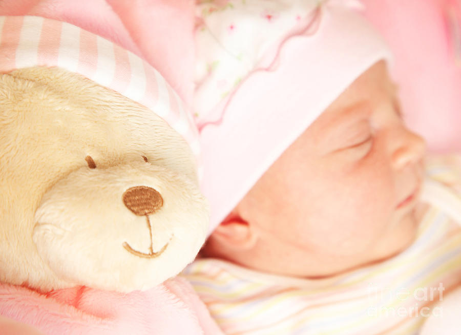 Adorable Photograph - Cute Little Baby Sleeping by Anna Omelchenko
