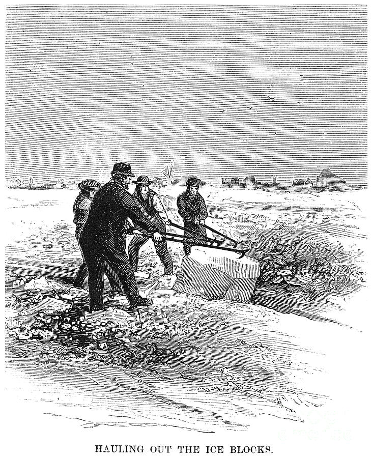 Cutting Ice, C1870 Photograph  - Cutting Ice, C1870 Fine Art Print