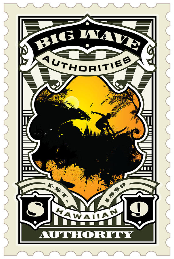 David Cook Umgx Vintage Studios Big Wave Authorities Illustrated Stamp Art Poster Digital Art  - David Cook Umgx Vintage Studios Big Wave Authorities Illustrated Stamp Art Poster Fine Art Print