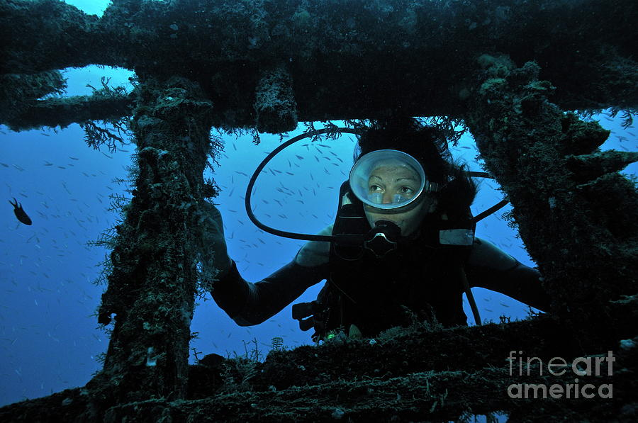 People Photograph - Diver Exploring Shipwreck by Sami Sarkis
