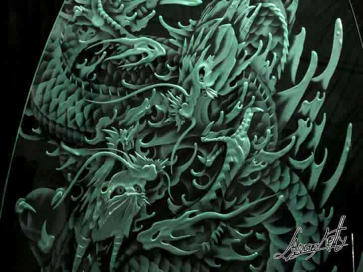 Glass Glass Art - Dragon by Lance  Kelly