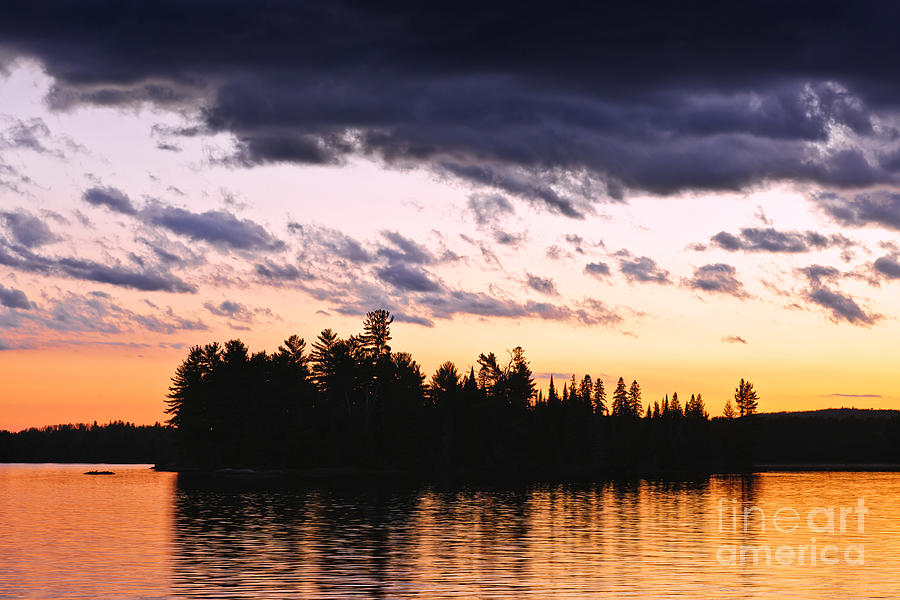 Dramatic Sunset At Lake Photograph  - Dramatic Sunset At Lake Fine Art Print