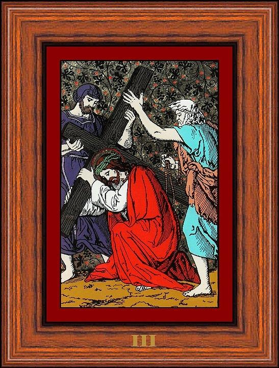 Station Jesus Drumul Crucii Oil Painting Glass Painting - Drumul Crucii - Stations Of The Cross  by Buclea Cristian Petru
