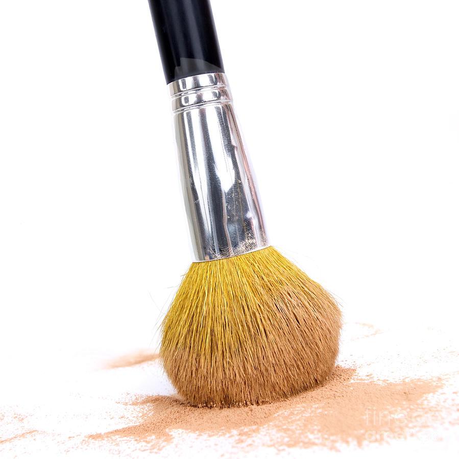 Cosmetics Photograph - Face Powder And Make-up Brush by Bernard Jaubert