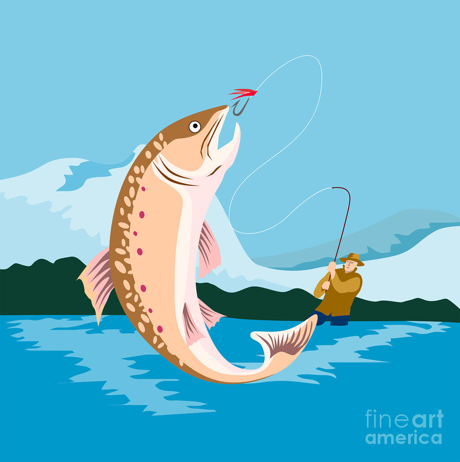 Fly Fisherman Catching Trout Digital Art  - Fly Fisherman Catching Trout Fine Art Print