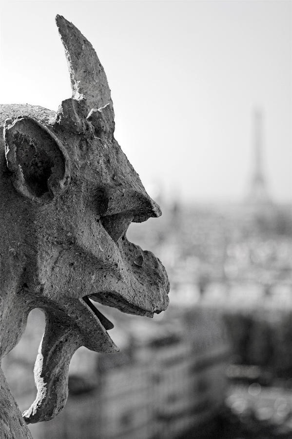 Gargoyle Guarding The Notre Dame Basilica In Paris Photograph  - Gargoyle Guarding The Notre Dame Basilica In Paris Fine Art Print