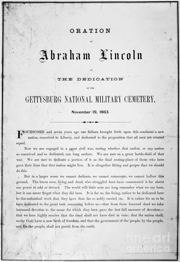 Gettysburg Address, 1863 Photograph