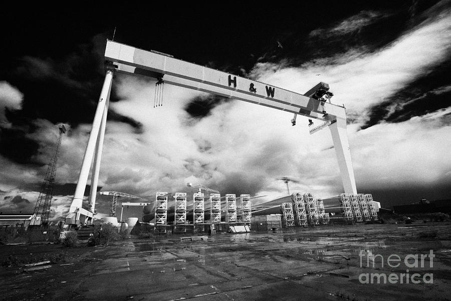 Giant Harland And Wolff Crane Goliath At Shipyard Titanic Quarter Queens Island Belfast Photograph