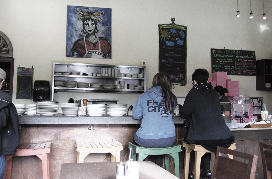 Two Ladies On Stools Photograph - 2 Girls At The Bakery Bar by Kym Backland