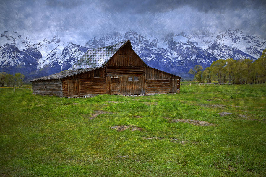 Grand Teton Iconic Mormon Barn Spring Storm Clouds Photograph  - Grand Teton Iconic Mormon Barn Spring Storm Clouds Fine Art Print