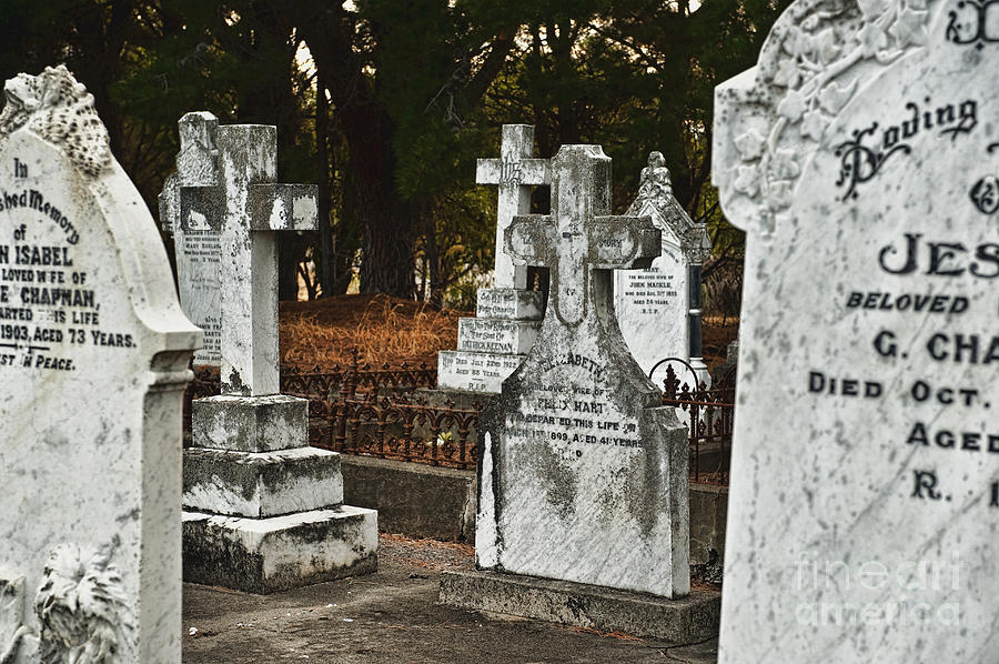 Abandoned Photograph - Gravestones In Graveyard by Dave & Les Jacobs