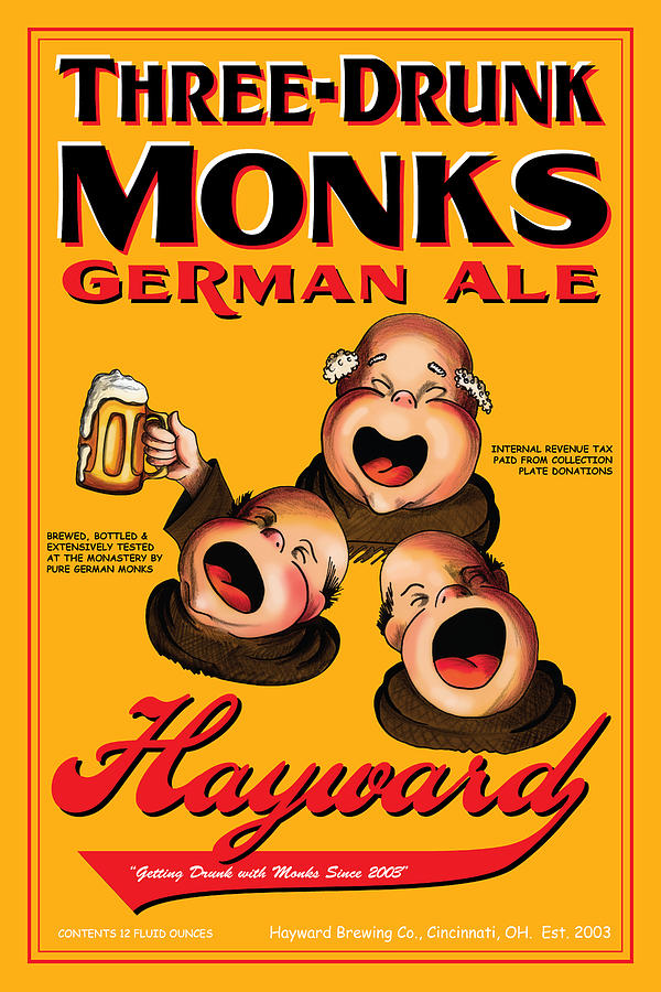 Hayward Three Drunk Monks Drawing  - Hayward Three Drunk Monks Fine Art Print