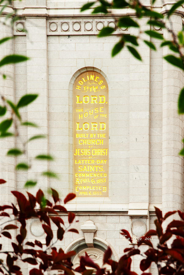 Holiness To The Lord Photograph