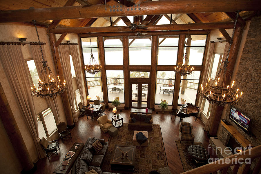 Interior Of Large Wooden Lodge Photograph