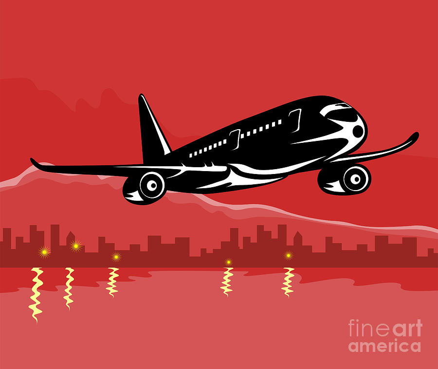 Jumbo Jet Plane Retro Digital Art