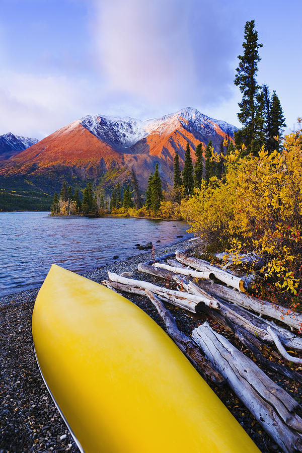Colour Image Photograph - Kathleen Lake And Mountains, Kluane by Yves Marcoux