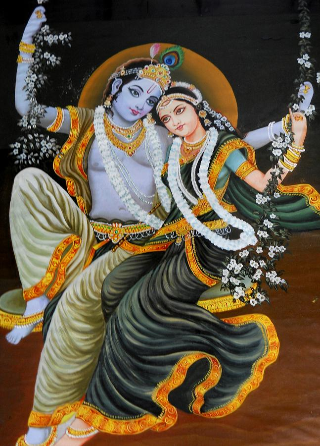 Krishna Radha On Silk Painting  - Krishna Radha On Silk Fine Art Print