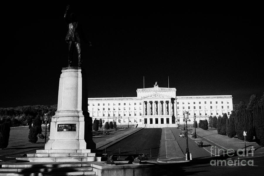 Stormont Photograph - Lord Carson Statue At The Northern Ireland Parliament Buildings Stormont Belfast Northern Ireland Uk by Joe Fox