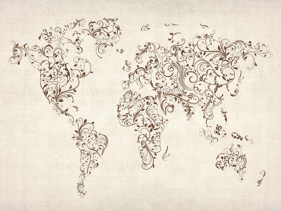 Map Of The World Map Floral Swirls Michael Tompsett