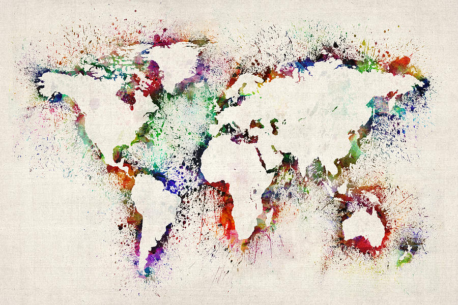 Map Of The World Paint Splashes Digital Art  - Map Of The World Paint Splashes Fine Art Print