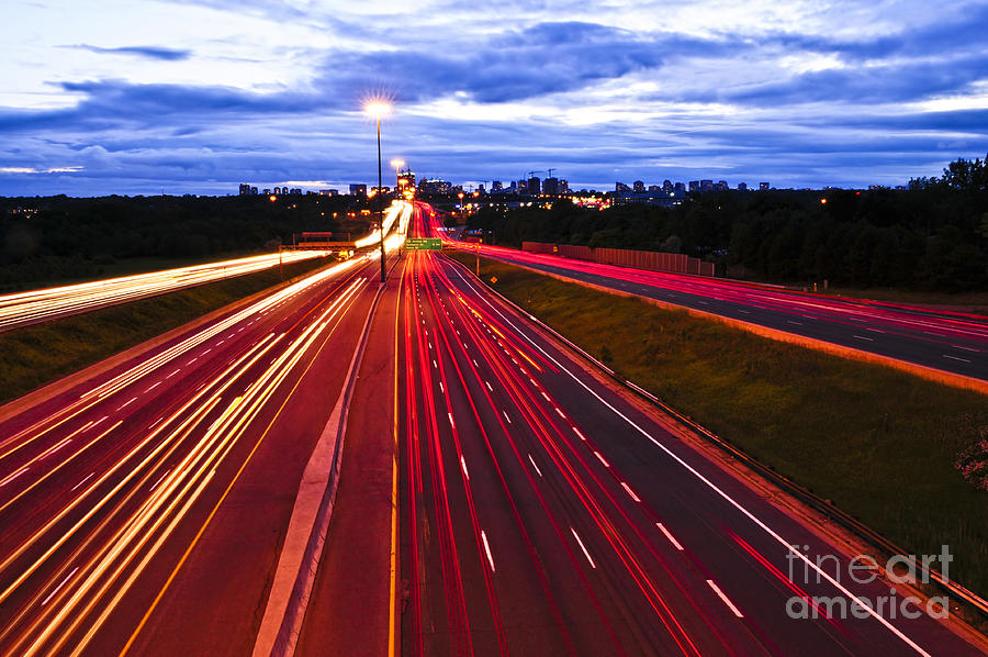 Night Traffic Photograph  - Night Traffic Fine Art Print