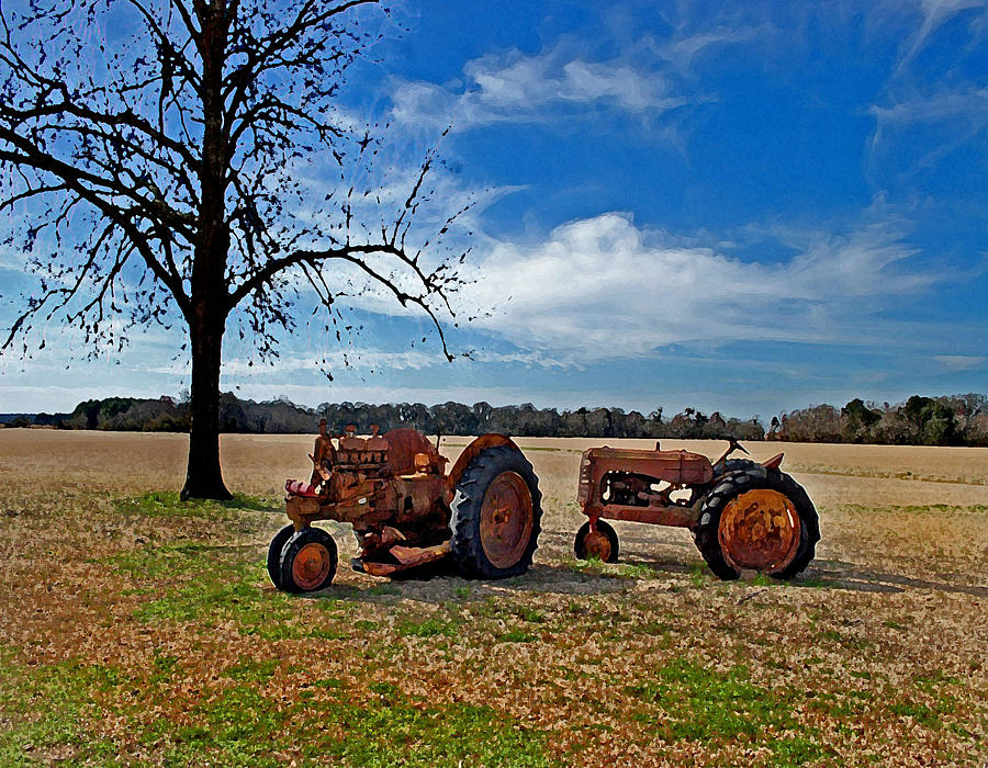 2 Old Tractors And The Tree Painting  - 2 Old Tractors And The Tree Fine Art Print
