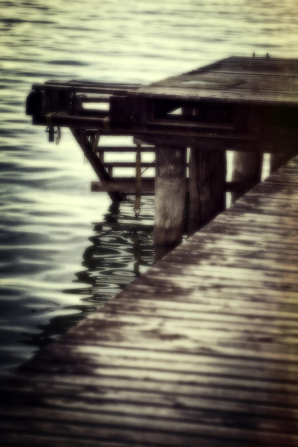 Old Wooden Pier With Stairs Into The Lake Photograph  - Old Wooden Pier With Stairs Into The Lake Fine Art Print