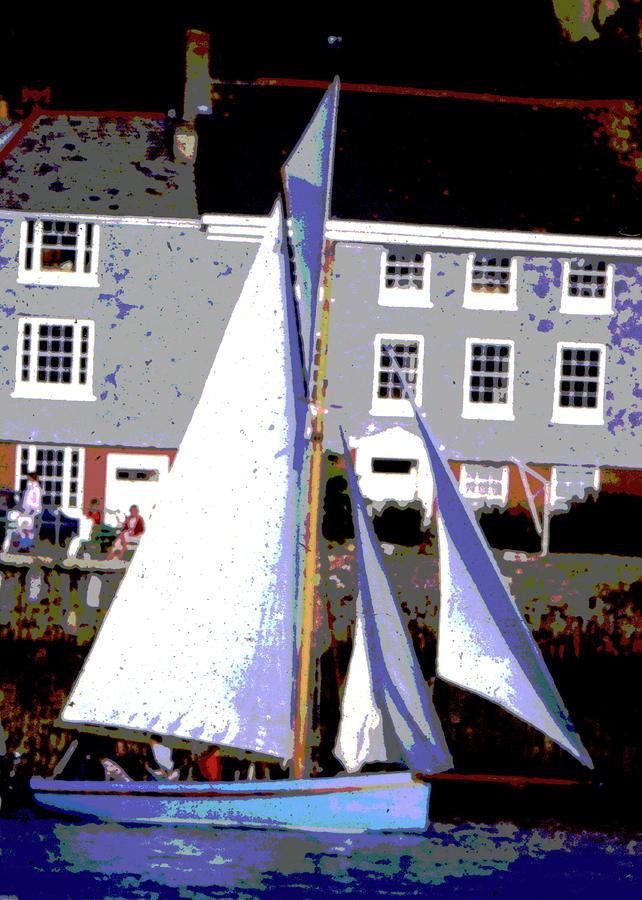 Oyster Boats Mixed Media