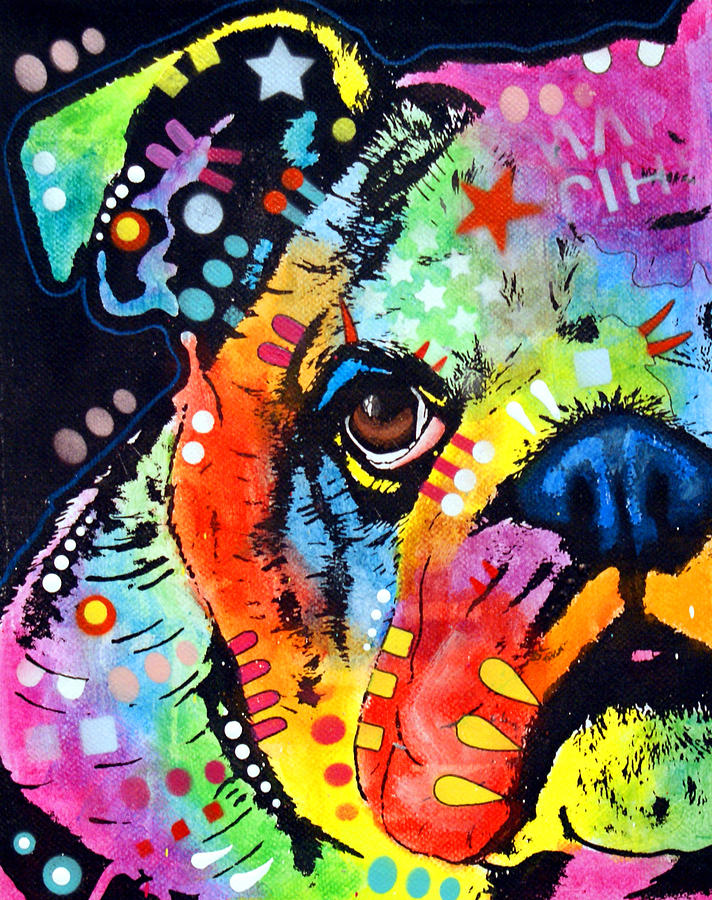 Peeking bulldog by dean russo for Art print for sale