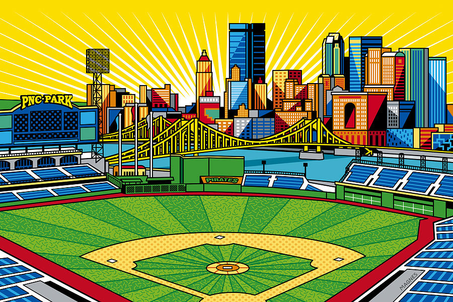 Pnc Park Gold Sky Digital Art  - Pnc Park Gold Sky Fine Art Print