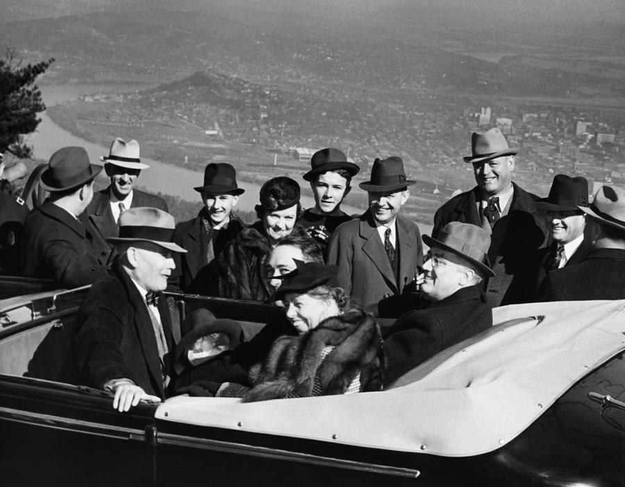 President Franklin D. Roosevelt In Car Photograph